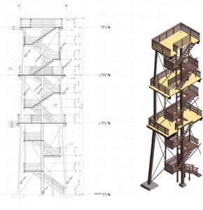 02-Eagle Tower Elevation and Disected Isometric